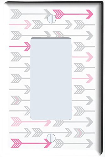 Light Switch Cover Patterns - Pink, and Grey Arrow Print Pattern Light Switch Plate and Outlet Covers/Arrows Woodland Forest Nursery Wall Decor for Baby Girls (Single Rocker GFCI)