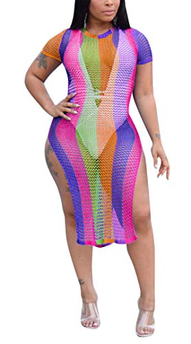 (Womens Street Fashion Rainbow Color Stripes Knitwear Mesh See Through Hollow Holes Split Overall Party Club Summer Beachwear Cover Up Dress Rose XL)