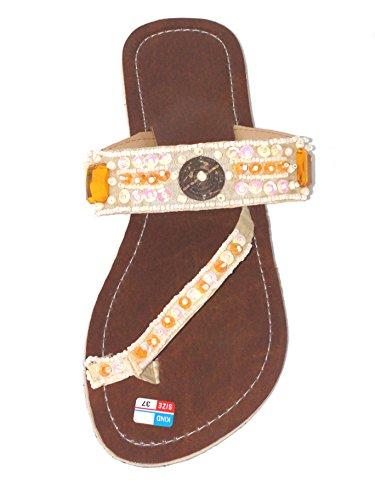 Flip Sandale Glamour Zehentrenner Zehenpantolette Creme