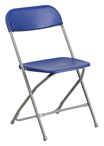 Flash Furniture 10 Pk. HERCULES Series 800 lb. Capacity Premium Blue Plastic Folding Chair (10 Folding Chairs)