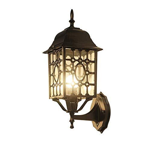 XAJGW Luz/Aplique / Linterna de Pared para Exteriores, rústica, Color Negro Metalizado, Vidrio Transparente en celosía de...