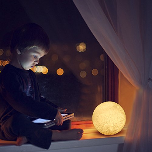 LED Lunar Moon Night Light Lamp, Greenclick 3D Luna Lamp Brings The Moon In My Room Smart Touch Control Moon Lantern Rechargeable Home Decorative Hanging Light With Wood Holder, Diameter 5.1 In