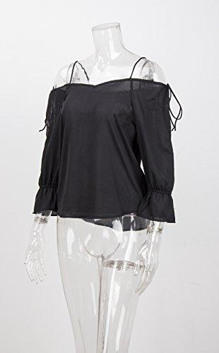 Abbigliamento Casual Bluse Hop Manica Donna Vintage Collo Shirt Camicette Top Lunga Halter Moda V Elegante Chiffon Larghi Ragazza Blusa Nero Chic Hip WgnTZwRqZ