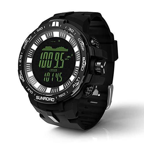 hAohAnwuyg Watch-Fishing Watch, Men Waterproof Digital Barometer Altimeter Compass Temperature Watch Black