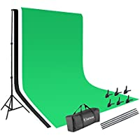 Kshioe 2x3m Background Stand Support System Kit+ Green Black White Non-woven Backdrop+ Clamps