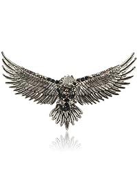 Ever Faith Vintage Style 4.7 Inch Flying Eagle Brooch Pin Austrian Crystal
