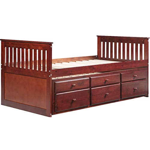 Walnut Double Bed - Fostoy Captain's Bed Twin Daybed with Trundle Bed and Storage Drawers (Walnut)