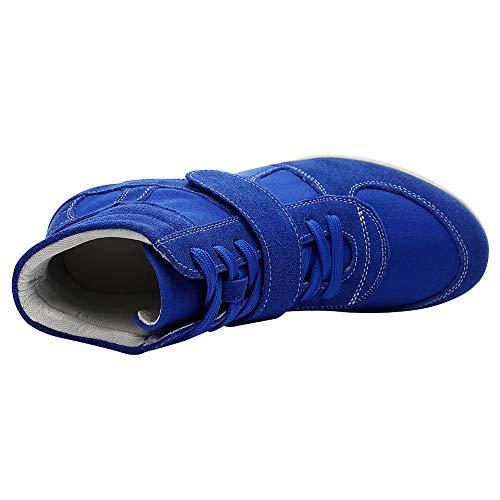 Fibbia Blu Cima Reale Zeppa Informale Rismart Scarpe Donna Lacci Cuneo Lavoro Sneaker In 8gSnqxwP