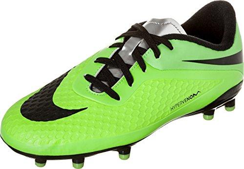 Nike JR Hypervenom Phelon Soccer Cleats (Lime/Green/Silver/Black) (4)