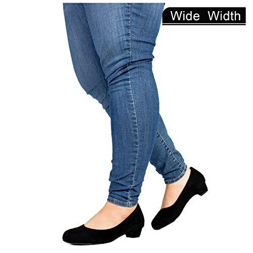 Women's Wide Fit Kitten Low Heel Extra Cushion Pumps Flats (True Wide Width) Black (7)