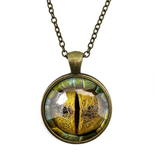 FOREVER 20 Truth Dragon Eye Time Gem Necklace Alloy Glass Cabochon Bronze Tone Long Chain Pendant Necklace for Women and Girls for $<!--$13.99-->