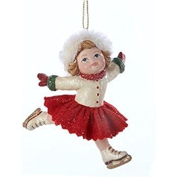 kurt adler 35 vintage girl ice skater in pose wearing santa hat christmas ornament - Ice Skating Christmas Ornaments