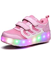 FUNDAY365 Kids Rechargeable Light Roller Skate Shoes Flashing Sneakers with Two Wheels Trainers
