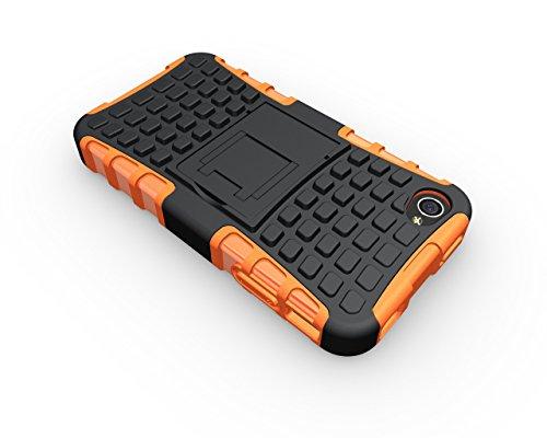 Voguecase® für Apple iPhone 4 4G 4S hülle, (Harte Rückseite) Hybrid Hülle Schutzhülle Case Cover (Kickstand/ Orange) + Gratis Universal Eingabestift