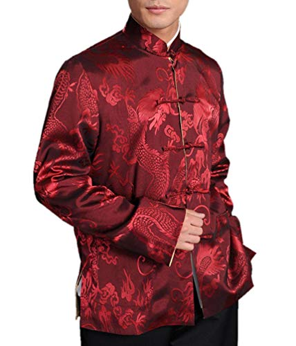 Chinese Tai Chi Kungfu Reversible Red/Gold Jacket Blazer 100% Silk Brocade #106 + Free Magazine