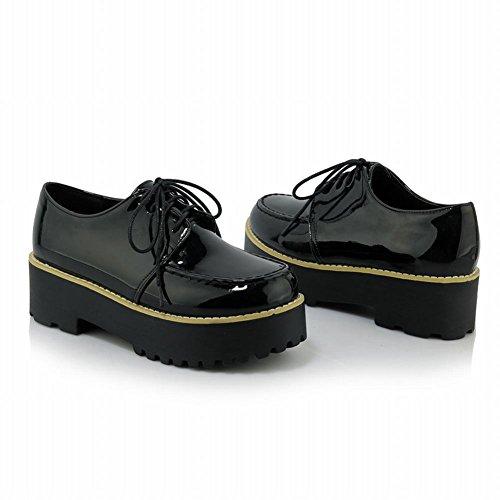 Latasa Dames Kunstleer Veterplateau Oxfords Schoenen Zwart