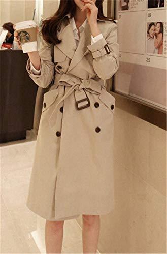 Retro Casual Mujer Gabardina Outwear Manga Botonadura Fashion Windbreaker Otoño Largos Doble Abrigos De Primavera Solapa Kahki Classic Larga Outdoor Elegantes 4wqPOWd