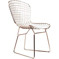 Bertoia Style Side Chair In Rose Gold Finish (White Pad)