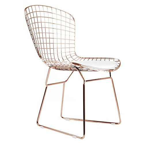 (Bertoia Style Side Chair In Rose Gold Finish (White Pad))