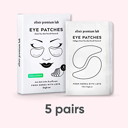 Collagen Eye Patches - Moisturizing Under Eye Pads - Anti Puffines & Dark Circles Spa Treatment - Best Hydrogel Eye Moisturizer for Women & Men - Gel Patch for Dry Skin Under Eye Zone (6 Pack) by Elixir Premium Lab (Image #4)