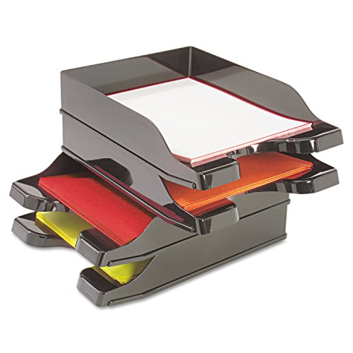 Deflect-O Corporation Products - Multi-Directional Stacking Tray, 10amp;quot;x13-3/4amp;quot;x2-1/2amp;quot;, 2/ST, BK - Sold as 1 ST - Multi-Directional Stacking Trays feature a unique, interlocking design that allows trays to stack in any direction without risers. Curved front entry lifts papers for easy access and features tabbed area on front for labeling. Oversized to accommodate letter, legal and A4 sizes.