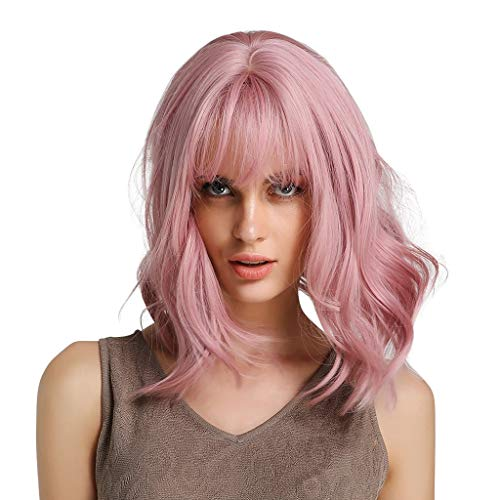 Aleola Short Bob Hair Wigs with Bangs Synthetic Heat Resistant Women Fashion Hairstyles Custom Cosplay Party Wigs (Best Hairstyles For Evening Party)