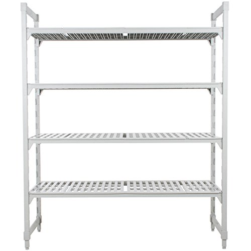 - Cambro CPU184864V4480 Camshelving Premium Starter Unit, 4-Tier (4) Vented Polypropylene Shelf Plates, (2) Pre-Assembled Post Kits, (8) Traverses and Molded-In Dovetails, 64