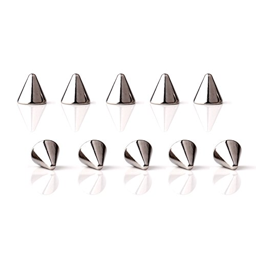 Spike Industrial Barbell - Ruifan 6mm Externally Threaded 316L Surgical Steel Replacement Spikes Body Jewelry Piercing Barbell Parts for Lip Eyebrow Tongue Belly Navel Nose Nipple Ring 16G Pack of 10