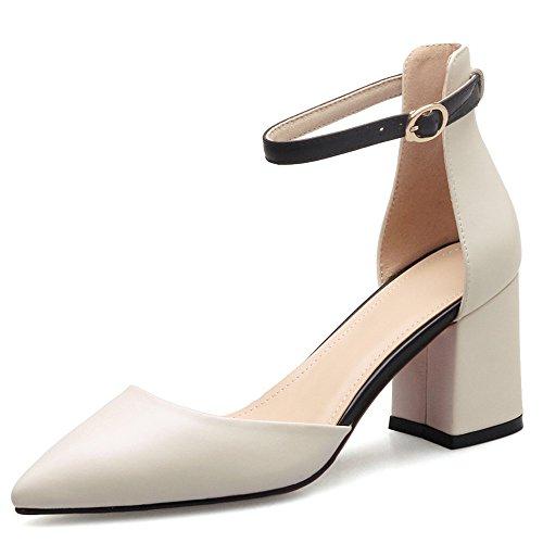 Nine Seven Cuero Moda Puntiagudos Zapatos de Tacón Grueso con Correa de Tobillo para Mujer Beige