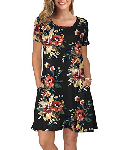 KORSIS Women's Summer Floral Dresses Short Sleeve Tunic T Shirt Swing Dresses Brown Flower Black XS (Brown Striped Shorts)