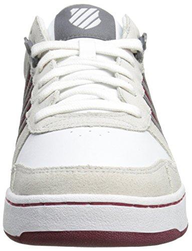 K-Swiss Jackson - Zapatillas de Piel Para Hombre, Weiß (Wht/BNE/Chrcl/BKNG Red 141), 42
