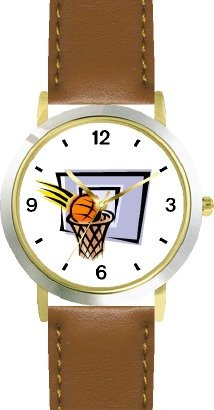 Basketball, Hoop, Backboard, Swish Basketball Theme - WATCHBUDDY DELUXE TWO-TONE THEME WATCH - Arabic Numbers - Brown Leather Strap-Women's Size-Small by WatchBuddy