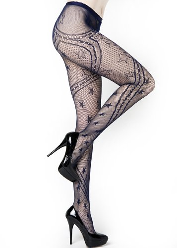 Stella Elyse Stars and Swirling Ribbons Fishnet Pantyhose Queen Plus Size (Navy)