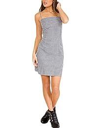Vemubapis Women's Elegant Sleeveless Backless Gingham Bow-Tie Split Shift Dress