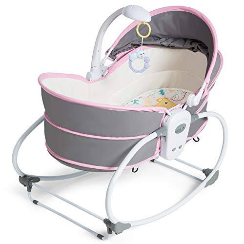 HONEY JOY 5-in-1 Baby Rocking Bassinet, Portable Infant Travel Bed with Music and Toys, Adjustable and Detachable Canopy, Multi-Functional Crib for Newborn (Pink)