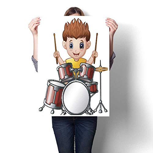 homehot Wall Art Oil Paintings Cartoon boy Playing a Drums Decorative Fine Art Canvas Print Poster K 20