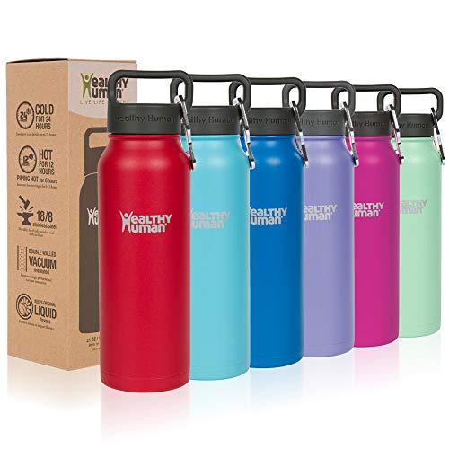 Healthy Human Water Bottle Stein, Lightweight BPA Free Metal Stainless Steel Sports Water Bottles 21oz Ruby red