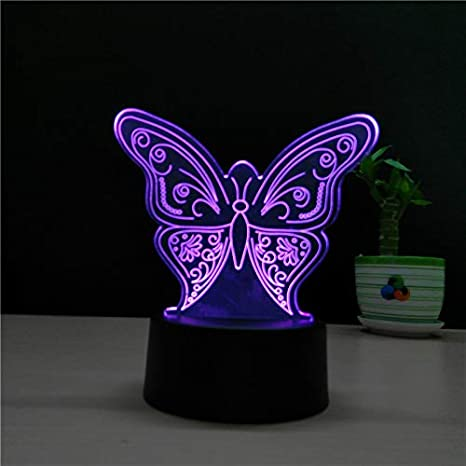 Lovely Butterfly 3d Lámpara USB Touch Switch Animal LED ...