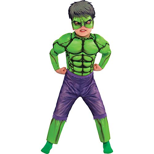 Suit Yourself Hulk Muscle Costume Classic for Toddler Boys, Size 3-4T, Includes a Padded Jumpsuit and a Half Face Mask -