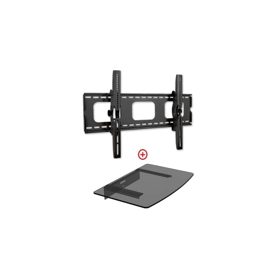Mount World 982t43 Universal Tilt Wall Mount for 32  60 Flat Panel Plasmal LCD LED Hdtv Bundle Single Glass Shelf for Blu ray, DVD and Avcomponents (Vesa 600x400, Glass Shelf Size 14.17 x 9.84)