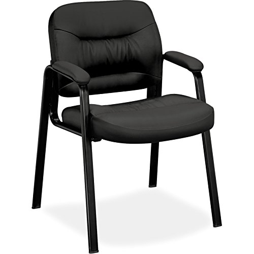 basyx by HON Guest Chair - Leather Stacking Chair with Arms, Black (HVL643)
