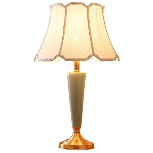Bedside Desk LampCopper Bottom Seat Ceramic Lamp Body Fabric Lamp Cover Table Lamp