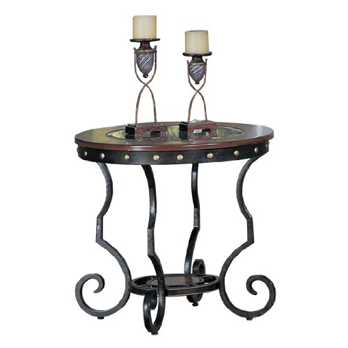 Poundex Firebird Series End Table Round Glass And Rod Iron F