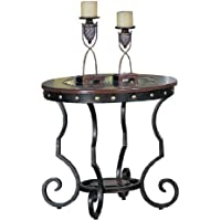 Poundex Firebird Series End Table Round Glass And Rod Iron Finish