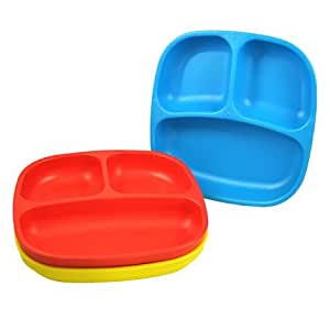 Re-Play 3-Pack Deep Wall Divided Plates, BPA-Free, Red Blue Yellow