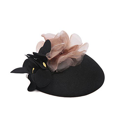 Retro small ladies headwear hats/ small caps/ party dinner-Black One Size