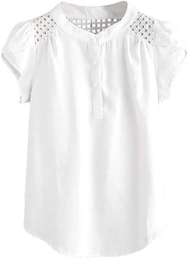 Mujeres Casual Tops Cuello Sólido O Ahueca hacia Fuera La Especial Estilo Camiseta Blusa De Manga