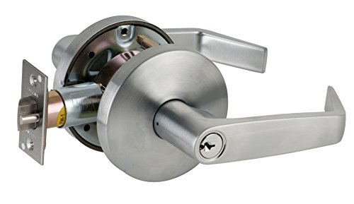 Falcon B581PD D 626 C Keyway B Series Grade 2 Medium Duty Cylindrical Chasis Non-Handed Lock, Storeroom Function, Schlage C Keyway, 6 Pin Conventional Cylinder, Keyed Different, Dane Lever, Satin Chrome Finish