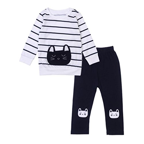 HANYI Baby Kids Set Cats Print Tracksuit +Pants Outfits Set (2 T, White)