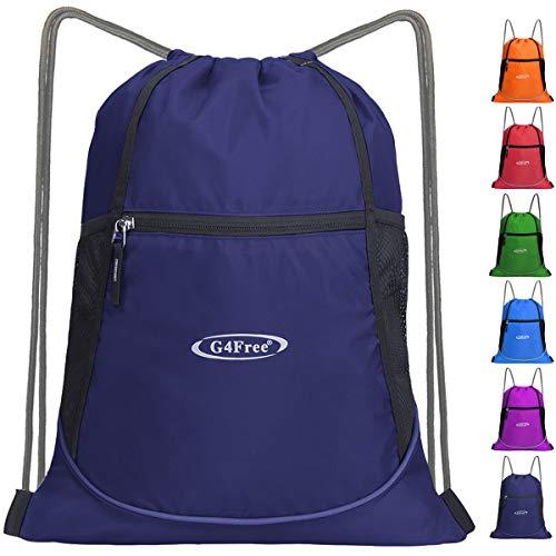 - G4Free Drawstring Backpack Sports Gym Bag Large String Backpack Cinch Sack Waterproof Swim Bag Women Men Indoor Outdoor(Navy Blue)